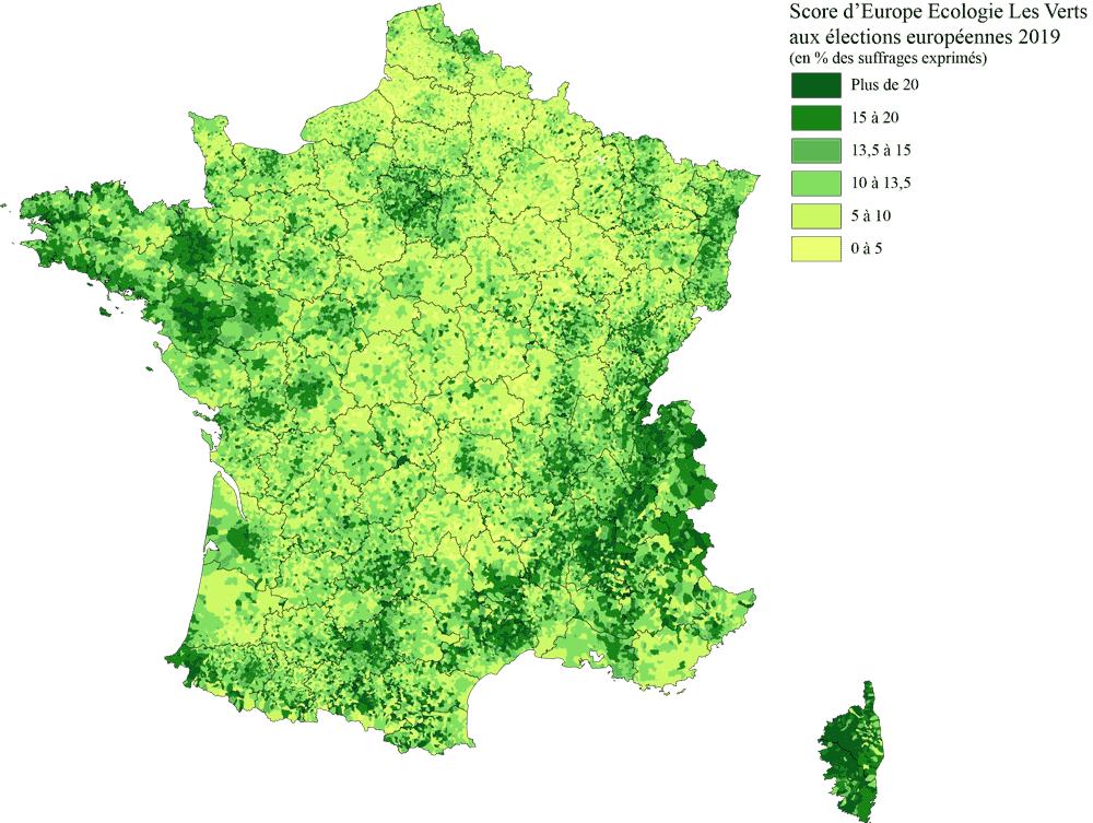 Score d'europe Ecologie les Verts - EELV - resultat elections europeennes 2019