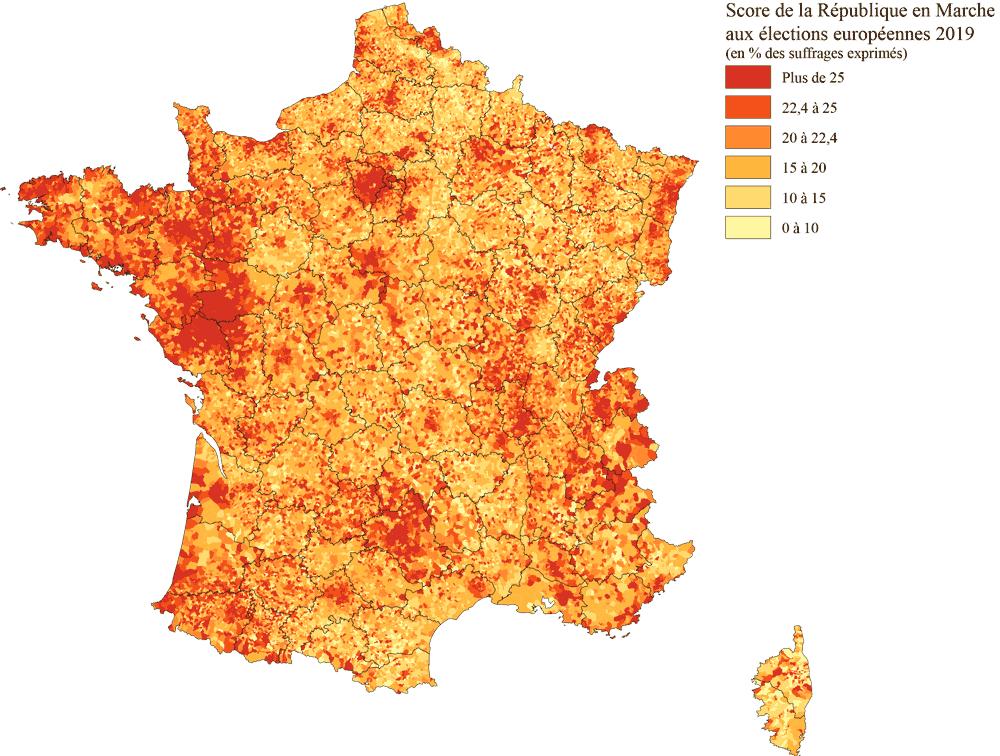 Score de la république en Marche LREM - Elections europeennes 2019
